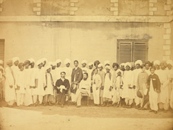 Group portrait of students under the instruction of the Rev. William Miller of the Free Church of Scotland Mission, Madras